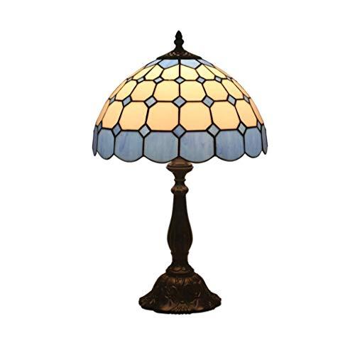 NXYJD Lámpara de Mesa Creativa Europea, persiana de Cristal Azul de la lámpara de cabecera con aleación de Zinc Base, Habitación Sala lámpara de Escritorio