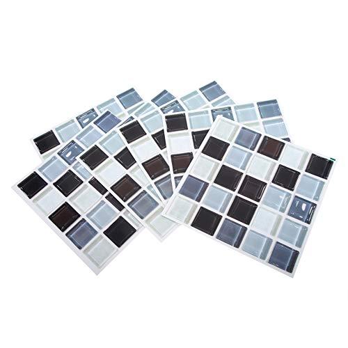 Cafopgrill 6Pcs 3 Dimensiones Mosaico Etiqueta de la Pared Mosaico Autoadhesivo Mosaico PVC Etiqueta de la Pared Azulejo Decoración del Dormitorio