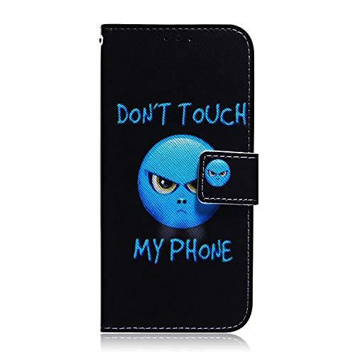 Huawei Honor 9X/ Honor 9X Pro Hülle Handyhülle für Huawei Honor 9X/ Honor 9X Pro Lederhülle Hülle Cover Tasche Flipcase Schutzhülle Handytasche Ständer Magnet Geldbörse Klapphülle, Blaues Gesicht