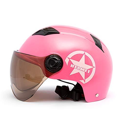 KKmoon Casco per Moto, Elmetto Regolabile a Mezza Faccia Aperta, Caschi Protettivi per Uomo Donna, Rosa