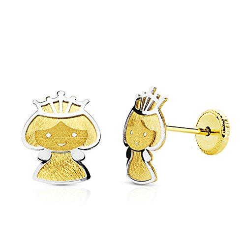 Pendientes bebe niña princesa oro bicolor 18k 7 mm tuerca rosca