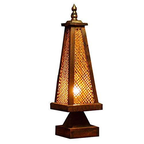 N / C Lámpara de Mesa de bambú y ratán de Madera, decoración de Madera Retro en Forma de Faro, Antiguo Creativo, Junto a la Cama, Apariencia Exquisita, Dormitorio, hogar asiático