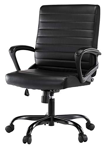 Office Chair Bonded Leather, Ergonomic Adjustable Swiveling Task Computer Desk Chair with Mid-back and Padded Seat
