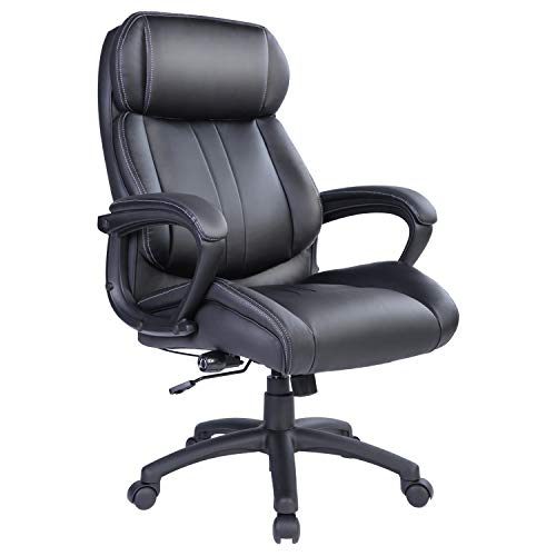 Bowthy Big and Tall Executive Office Chair 300lbs Computer Ergonomic Desk Chair 360 Swivel Task Chair with Wheels and Adjustable Lumbar Support High Back PU Leather Chair (Black)