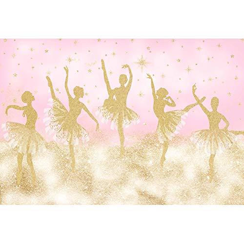 DORCEV 7x5ft Ballet Girl Photography Backdrop Ballet Dancer Gold Shiny Dance Skirts Pink Background Girl's Birthday Party Banner Decor Photo Props Wallpaper