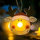 JiaMeng-ZI Decoración de Navidad Luz LED Muñecas de Madera Adornos navideños Árbol Colgante Decoración Decoración del hogar De Madera(8 * 9.5cm)