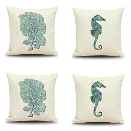 JgZATOA Watercolor Seahorse Cushion Cover Living Room Sofa Pillow Cases Bed Pillow Case Office Cushion 45 X 45Cm Set Of 4