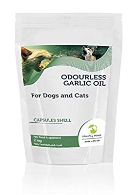 Odourless Garlic Oil 2mg for Dogs and Cats Pets Food Supplement 60 Capsules Reduced Levels of Anti-Social Garlic Breath Nutrition Supplements HEALTHY MOOD UK Quality Nutrients