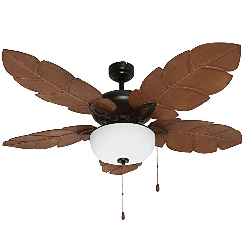 Hykolity 52 Inch Indoor Tropical Ceiling Fan with Light Kit, Five ABS Palm Leaf Blades, ETL Listed Ceiling Fans for Living Room Kitchen Bedroom Basement, Reversible Motor, Pull Chain, Bronze