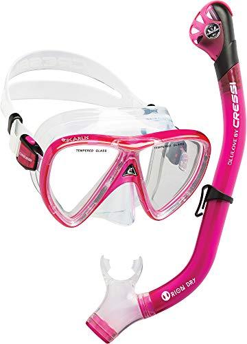 Cressi Ikarus & Orion Dry Kits máscara Tubo, Adultos Unisex, Transparente/Rosa Translúcido, Un tamaño