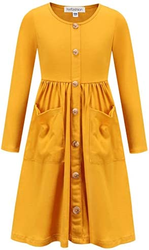 Girls Button Down Dress Teen Cotton Long Sleeve Winter Outfits Loose Tunic Dress 10 11 Yellow product image