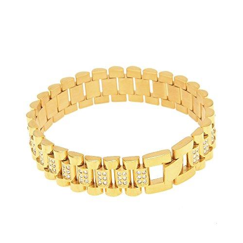 RENYZ.ZKHN The Tank Chain _ Stainless Steel Bracelet Bracelet Hip-Hop Tank Chain Diamond Studded Watch Chain Bracelet Hiphopsteelbracelet Diamond Watch Chain,Gold Diamond Watch Chain (Stainless Steel)