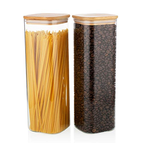 High Borosilicate Square Glass Jars Food storage Set of 2 Glass Containers with Bamboo Lids 71 oz. Glass Container for Pasta Cereal Rice Sugar Tea Coffee Beans Containers for Kitchen Pantry