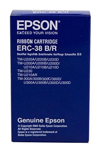 Epson ERC38BR - Cinta para impresora matricial, color Rojo/Negro, Ya disponible en Amazon Dash Replenishment 🔥