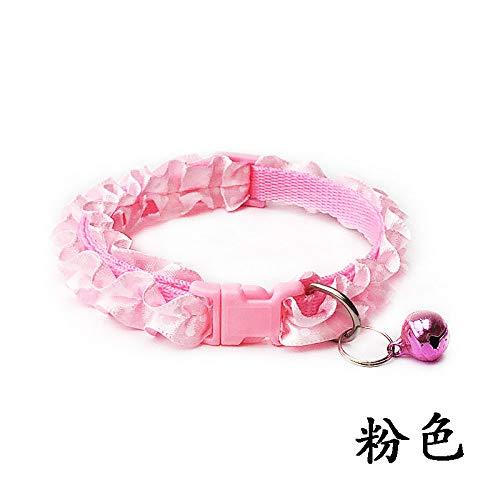 Roze hondenhalsband, mooie kattenhond kanten kraag met bel verstelbare gesp puppy huisdier accessoire voor alle seizoenen ademende gewatteerde comfortabele lichte outdoor training hals, Small