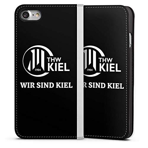 DeinDesign Leder Flip Case kompatibel mit Apple iPhone 7 Tasche Hülle THW Kiel Handball Fanartikel