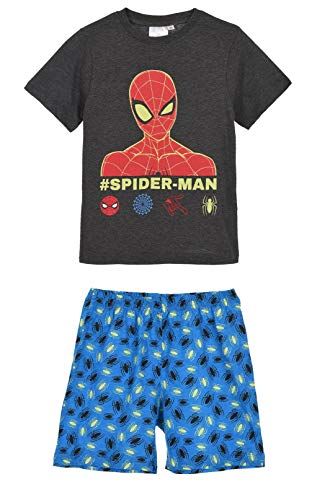 Spiderman-Marvel - Pijama corto y camiseta para niño de 3 a 8 años, color gris, azul y rojo gris/azul 4 años
