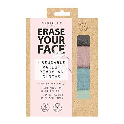 Erase Your Face Écologique Réutilisable Maquillage Enlève Tissus En Neuf 100% Plastique Gratuit Recyclables Emballage - Pastels, 4 Paquet Tissus