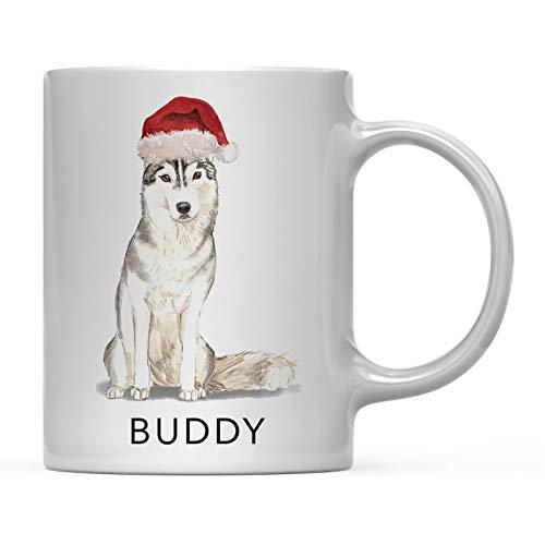 N\A Taza de café Personalizada para Perro, Husky Siberiano con Gorro de Papá Noel, Paquete de 1, Nombre Personalizado, Mascota, Perro, mamá, Familia