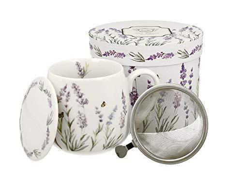 DUO - Juego de tazas de té con colador (acero inoxidable) y tapa de porcelana, diseño abombado con colador, 400 ml, 3 piezas, en caja de regalo