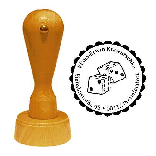 Stempel Adressstempel « WÜRFEL » Durchmesser ca. Ø 40 mm - mit persönlicher Adresse und Motiv - Kasino Casino Rockabilly