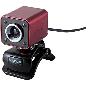 【2011年モデル】ELECOM WEBカメラ 130万画素 1/4インチCMOSセンサ ガラスレンズ・LEDライト搭載 マイク内蔵 イヤホンマイク付 レッド UCAM-DLK130TRD