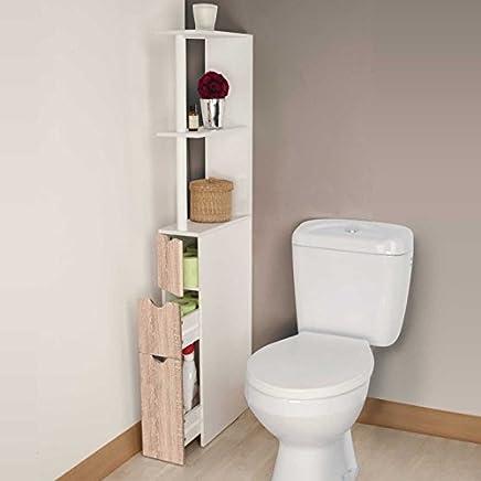 IDMarket   Meuble WC étagère Bois 3 Portes Coloris Hêtre Gain De Place Pour  Toilettes