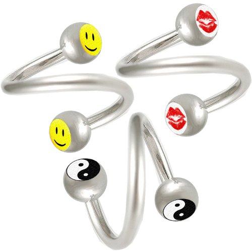 3er set 1,2mm 10mm augenbrauen spirale piercing stahl Lippen ohr Twister körperschmuck BPMS
