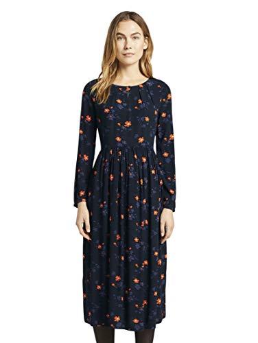 TOM TAILOR Damen Kleider & Jumpsuits Midikleid mit Blumenmuster Navy orange Flower Design,46