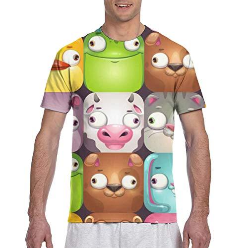 Lustiges nahtloses Muster mit Comic-Cartoon-Tierpersönlichkeitsspaß-Muster Kurzarm-Rundhals-T-Shirts