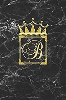 B: Personalised Journal Notepad (Blank Lined) Diary / Initial Notebook / Black And Gold Marble Design With Crown / Letter ...