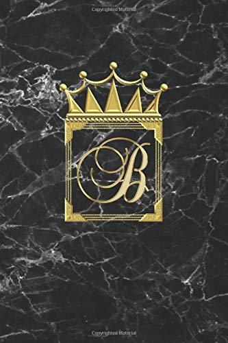 B: Personalised Journal Notepad (Blank Lined) Diary / Initial Notebook / Black And Gold Marble Design With Crown / Letter B Monogram Merch /  Can Be ... Go / Classy Diva / Lady Boss Gift For Women