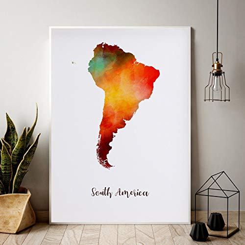 TELEGLO (No Frame) 50 * 70cm Südamerika Karte Aquarell Karte Moderne Stadt Leinwand Kunstdruck Wandbilder für Wohnzimmer
