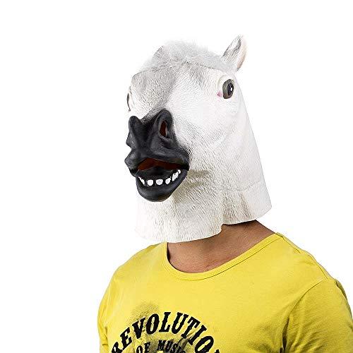 Maschera per Costume - Travestimento - Carnevale - Halloween - Cavallo Bianco - Adulti - Unisex - Donna - Uomo - Ragazzi - Idea Regalo per Natale e Compleanno