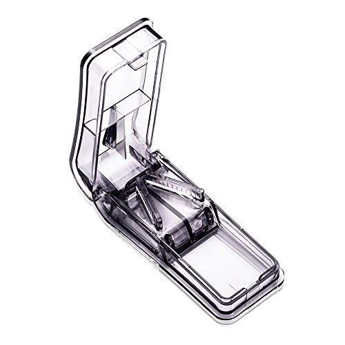 Baoweihua Tablettenteiler für Große und Kleine Tabletten, Tablettenschneider mit Ablagefach Schwarz