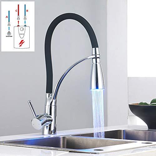 LED Niederdruck Wasserhahn Küche Schwarz Spüle Armatur Mischbatterie Einhebel Küchenarmatur Spültischarmatur mit 3 Anschluss-Schläuchen