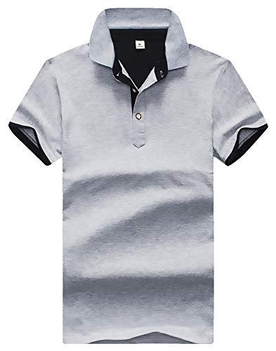 [Make 2 Be]メンズ ポロシャツ 半袖 レイヤード 重ね着 スタイル ボタンダウン M ~ 3XL バイカラー 速乾性 通気性 鹿の子 夏 スリムシルエット スポーツ アウトドア 普段着 部屋着 MF17 (24.Gray_2XL(Tag3XL))