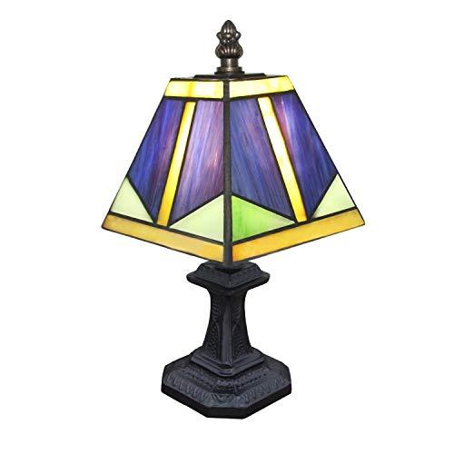 Lampes de Table de Style Tiffany, Salon Table de Salle à Manger Hall Décoration Éclairage Coiffeuse Rétro Art Chic Petite Lampe de Bureau avec Base en Résine à La Main Bleu en Verre Lampshad