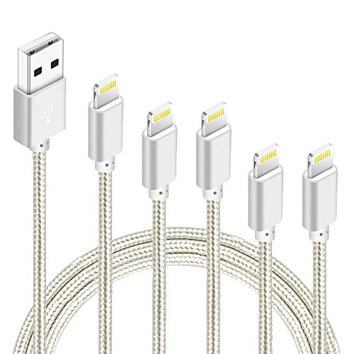 iPhone Lightning Cable Apple MFi Certified Braided Nylon Fast Charger Cable Compatible iPhone Max XS XR 8 Plus 7 Plus 6s 5s 5c Air iPad Mini iPod (Silver)