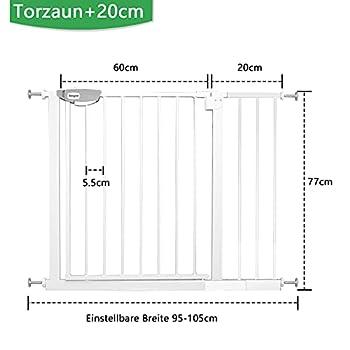 Froadp Barrière de protection pour porte d'escalier bébé sans perçage 95-105 cm Barrière automatique pour la sécurité des enfants Blanc
