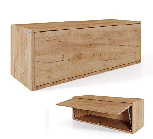 PLATAN ROOM Hängeschrank Schrank 100 x 35 x 35 cm Küchen-Klapphängeschrank für Bad, Flur, Wohnzimmer Wandschrank (Eiche Gold)