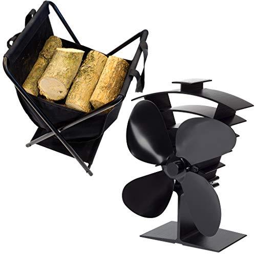 Valiant Premium 4 Wärmebetriebener Ofenventilator (inklusive gratis Holzträger und Aufbewahrungskorb)