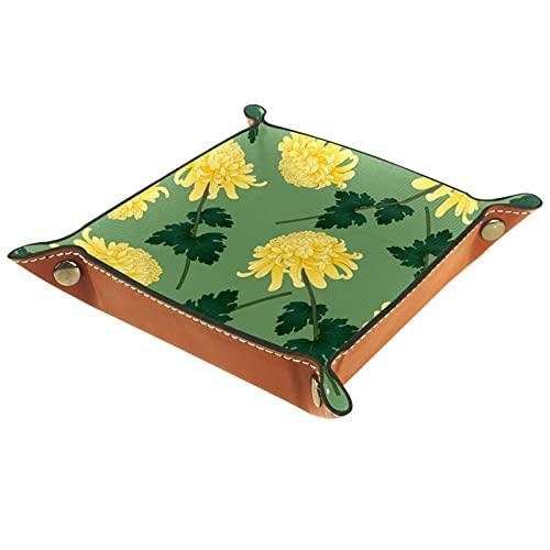 ATOMO Bandeja de almacenamiento de cuero amarillo flor clave joyería moneda Catchall Sundries organizador mesita de noche pequeña bandeja clave teléfono joyería contenedor caja