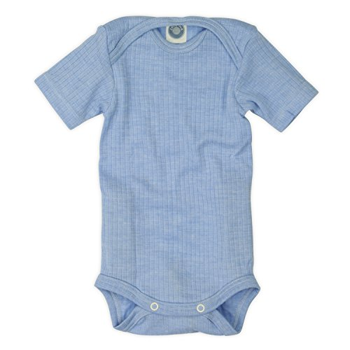 Cosilana Cosilana kurzarm Baby Body, Größe 50/56, Farbe Blau meliert, Spezial Qualität 45% kbA Baumwolle, 35% kbT Wolle, 20% Seide