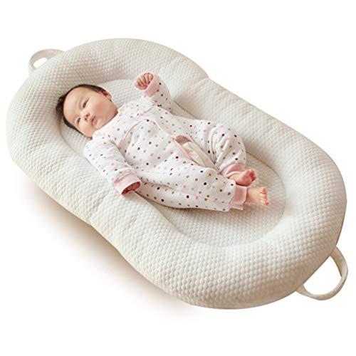 YYRCP Baby-Nest, Cocoon Nido Reducer Für Lounger, Bett Kinderbett Stoßstange Multifunktionale Nest Baby Matratze, Öko-Tex Standard Kissen, Futter Aus 100% Baumwolle, Maschinenwaschbar, 98×58Cm,Cream
