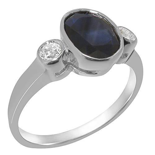 Luxus Damen Ring Solide Sterling-Silber 925 mit Saphir und Zirkonia - Größe 62 (19.7) - Verfügbare Größen : 47 bis 68