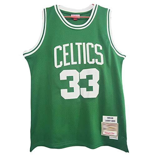TYUIY 1985-1986 Temporada Adecuada para Celtics 33 Pájaro Jersey, Uniforme de Baloncesto Retro para Adultos y jóvenes, Malla 100% de poliéster, Secado rápido y transpirabl M
