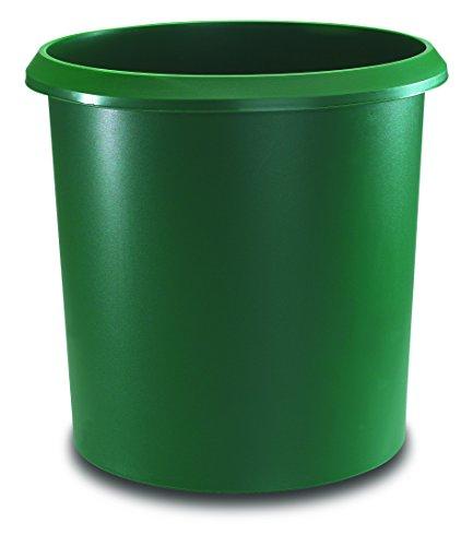 Läufer 26501 Papierkorb Allrounder 18 Liter, grün, rund, Mülleimer mit Griff, stabiler Kunststoff