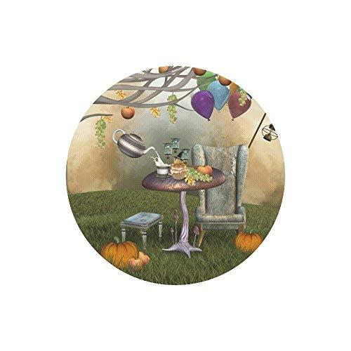 Grappig surrealistisch banket met herfstvruchten pompoen en theepot ronde rubberen muismat, Gaming muismat