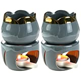 Bruciatori di olio essenziale a fusione di cera da 2 pezzi con cucchiaio di candela, diffusore di profumo di bruciatore di aromi in ceramica rimovibile per aromaterapia